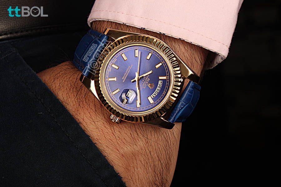 ساعت مردانه بند چرم ROLEX