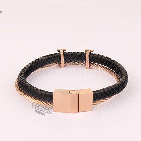 دستبند مردانه چرم استیل
